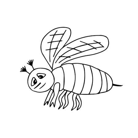 A Hand-drawn black vector illustration of one bee is flying on a white background