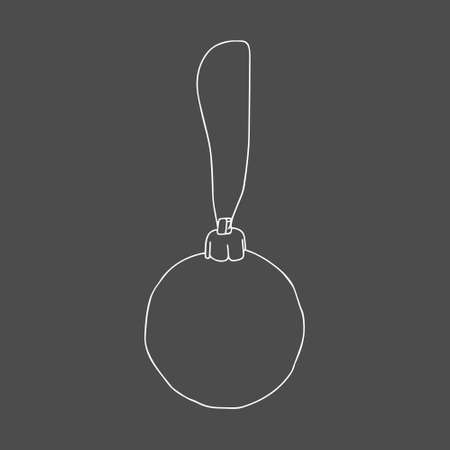 A Beautiful hand-drawn white vector illustration of one toy Christmas ball isolated on a gray background Vettoriali
