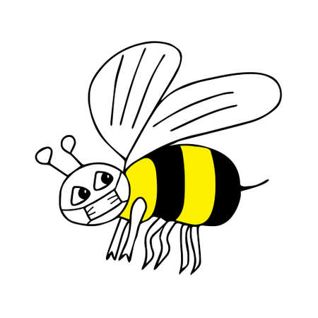 A Hand-drawn outline black and yellow vector illustration of a tired sad bee in a medical mask isolated on a white background Vettoriali