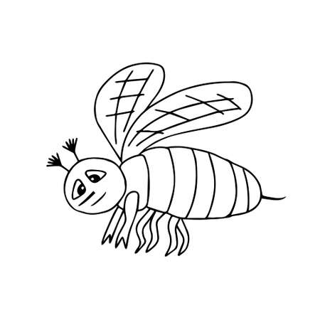 A Hand-drawn black vector illustration of a tired sad bee isolated on a white background