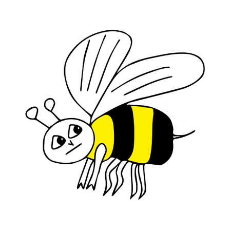 A Hand-drawn outline black and yellow vector illustration of a tired sad bee isolated on a white background Vettoriali