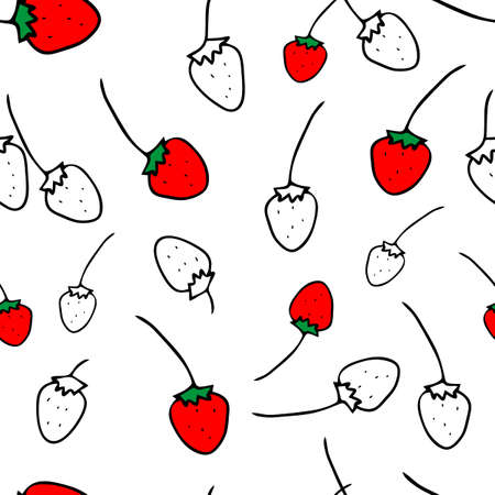 The Seamless colored Vector outline pattern of strawberries isolated on a white background Vettoriali