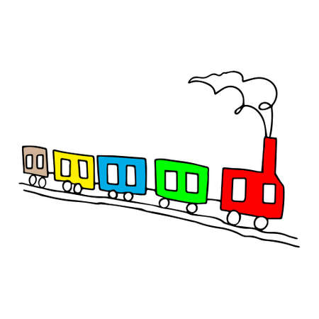 A Beautiful colored hand-drawn black vector illustration of toy train with four wagons isolated on a white background for coloring book for children