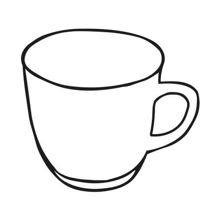 A Black hand drawing illustration of a cup for hot tea isolated on a white background Vettoriali