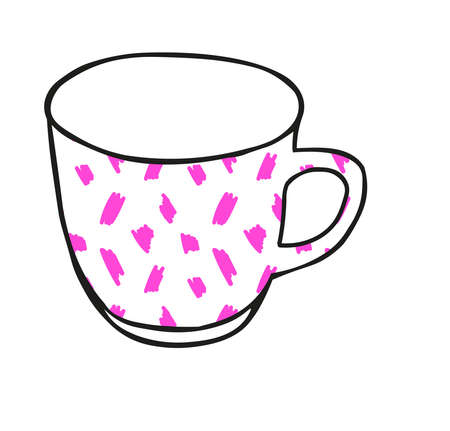 A Black hand drawing illustration of a cup for hot tea with pink pattern isolated on a white background Vettoriali