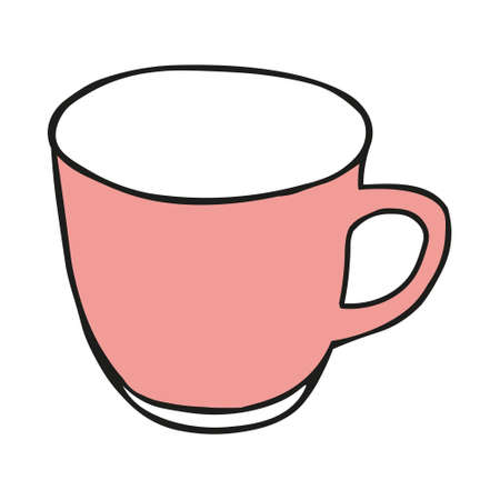 A Pink colored hand drawing illustration of a cup for hot tea isolated on a white background