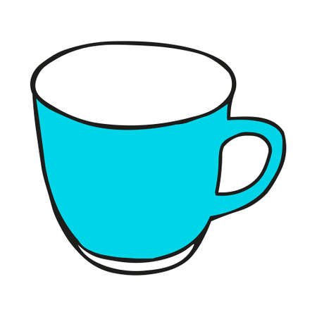 A Blue colored hand drawing illustration of a cup for hot tea isolated on a white background