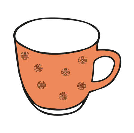 A Orange colored hand drawing illustration of a cup for hot tea isolated on a white background Vettoriali