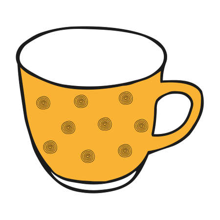 A Yellow colored hand drawing illustration of a cup for hot tea isolated on a white background