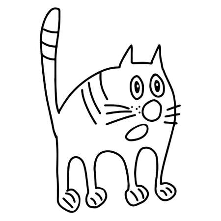A Hand drawn black vector illustration a portrait of a beautiful scared adult young cat with big sad eyes isolated on a white background