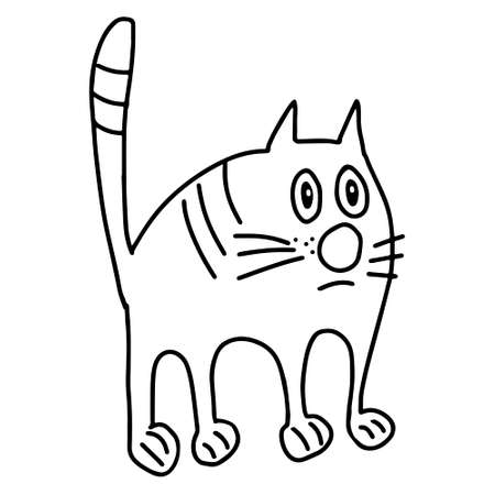 A Hand drawn black vector illustration a portrait of a beautiful sad adult young cat with big sad eyes isolated on a white background