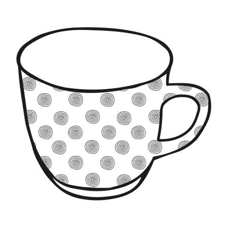 A Black hand drawing illustration of a cup for hot tea with circles pattern isolated on a white background Vettoriali