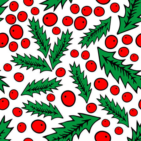 A Seamless pattern of Colored red and green outline hand drawing vector illustration of a carved Christmas holly plant isolated on a white background