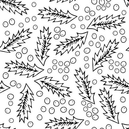 A Seamless pattern of a Black outline hand drawing vector illustration of a carved Christmas holly plant isolated on a white background
