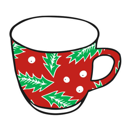 A Black hand drawing illustration of a cup for hot tea with green and red pattern isolated on a white background