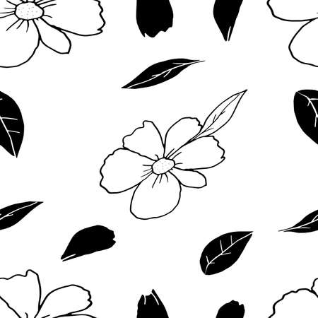 A hand drawing vector Illustration of white flowers with black leaves and petals isolated on a white background, Seamless pattern
