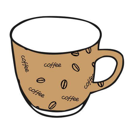 A Black hand drawing illustration of a beige cup for hot tea with coffee pattern isolated on a white background