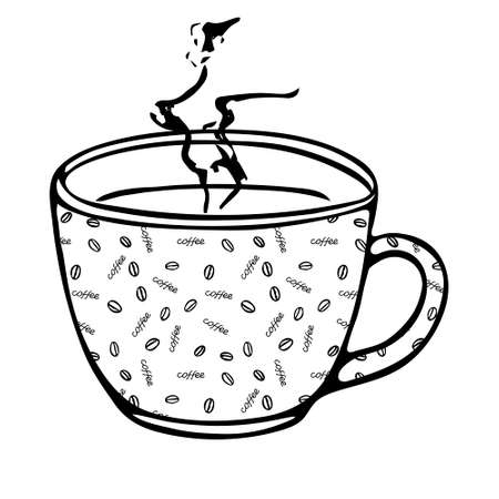 A Black hand drawing illustration of a cup for hot tea with coffee pattern isolated on a white background