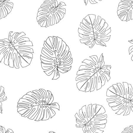 An Illustration of a black leaves monstera isolated on a white background. Seamless pattern