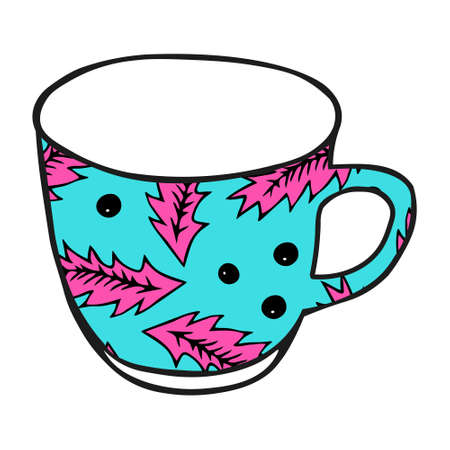 A Black hand drawing illustration of a blue cup for hot tea with pink pattern isolated on a white background Vettoriali