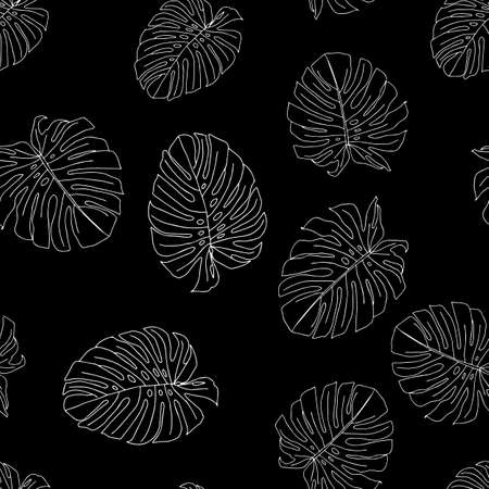 An Illustration of white leaves monstera isolated on a black background. Seamless pattern