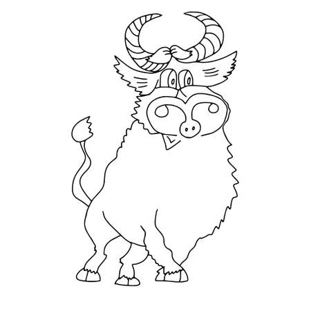 A Black outline hand drawing vector illustration of a bull for Christmas and New year decoration isolated on a white background