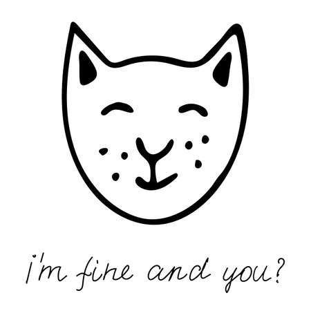 A hand drawn black vector illustration a portrait of a beautiful happy adult young cat with closed eyes