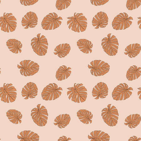 An Illustration of brown leaves monstera isolated on a beige background. Seamless pattern. Sepia