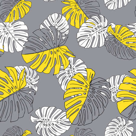An Illustration of yellow and white leaves monstera isolated on a gray background. Seamless pattern