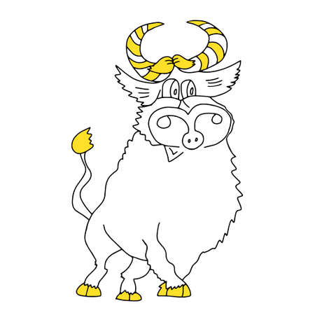 A Black and yellow outline hand drawing vector illustration of a bull for Christmas and New year decoration isolated on a white background