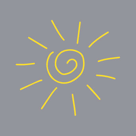 A Vector yellow outline illustration of the sun isolated on a gray background Vettoriali