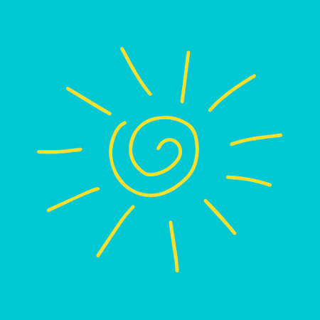 A Vector yellow outline illustration of the sun isolated on a blue background