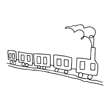 A Beautiful hand-drawn black vector illustration of toy train with four wagons isolated on a white background for coloring book for children Vettoriali
