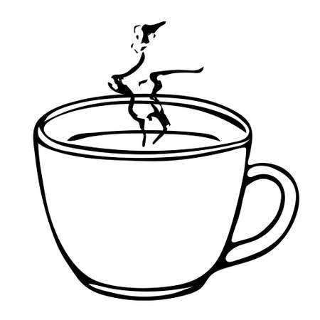 A Black hand drawing illustration of a cup with hot tea or coffee isolated on a white background