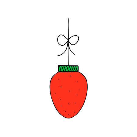 A Red outline vector illustration of one strawberry isolated on a white background looks like a christmas ball for decoration