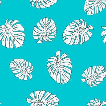 An Illustration of white leaves monstera isolated on a blue background. Seamless pattern