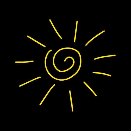 A Vector yellow outline illustration of the sun isolated on a brown background