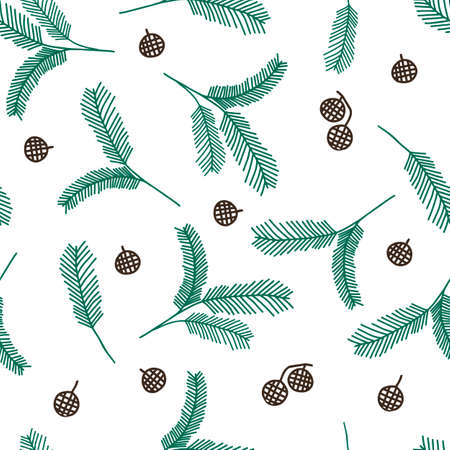 A Seamless pattern of green outline hand drawing vector illustration of a carved Christmas fir branches with brown cones isolated on a white background