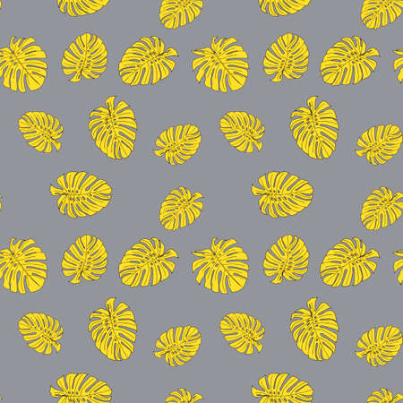 An Illustration of yellow leaves monstera isolated on a gray background. Seamless pattern