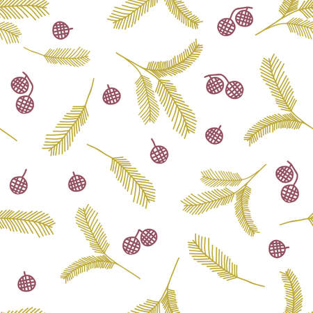A Seamless pattern of yellow outline hand drawing vector illustration of a carved Christmas fir branches with brown cones isolated on a white background