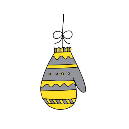 An Illustration of a yellow and gray knitted mitten isolated on a white background looks like a christmas ball for decoration
