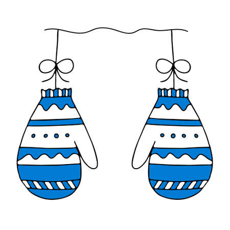 An Illustration of a pair of blue knitted mittens isolated on a white background looks like a christmas balls for decoration