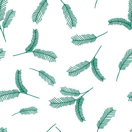 A Seamless pattern of green outline hand drawing vector illustration of a carved Christmas fir branches isolated on a white background