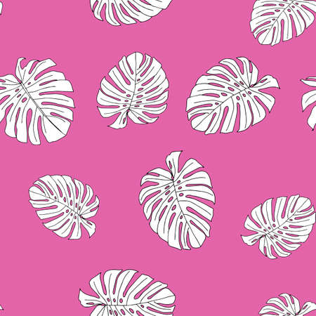 An Illustration of white leaves monstera isolated on a pink background. Seamless pattern
