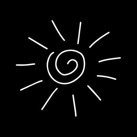 A Vector white outline illustration of the sun isolated on a black background