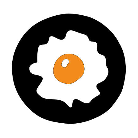 A Hand-drawn outline flat vector illustration of the yellow Fried egg on the black pan