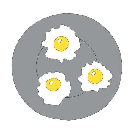 A Hand-drawn outline flat vector illustration of the yellow Fried eggs on the gray plate