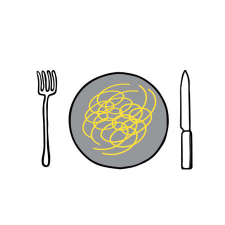 A Black hand-drawn outline flat vector illustration of hot spaghetti on the plate with a fork and a knife
