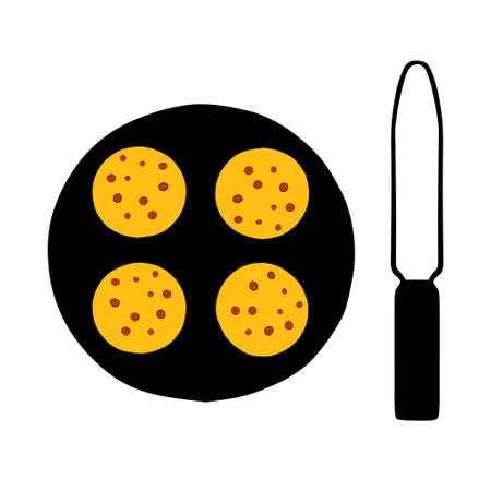 A Hand-drawn outline flat vector illustration of a group of hot yellow pancakes on the black pan with a Cooking Tool spatula Ilustração