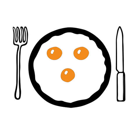 A Hand-drawn outline flat vector illustration of the yellow Fried eggs on the black pan with a fork and a knife